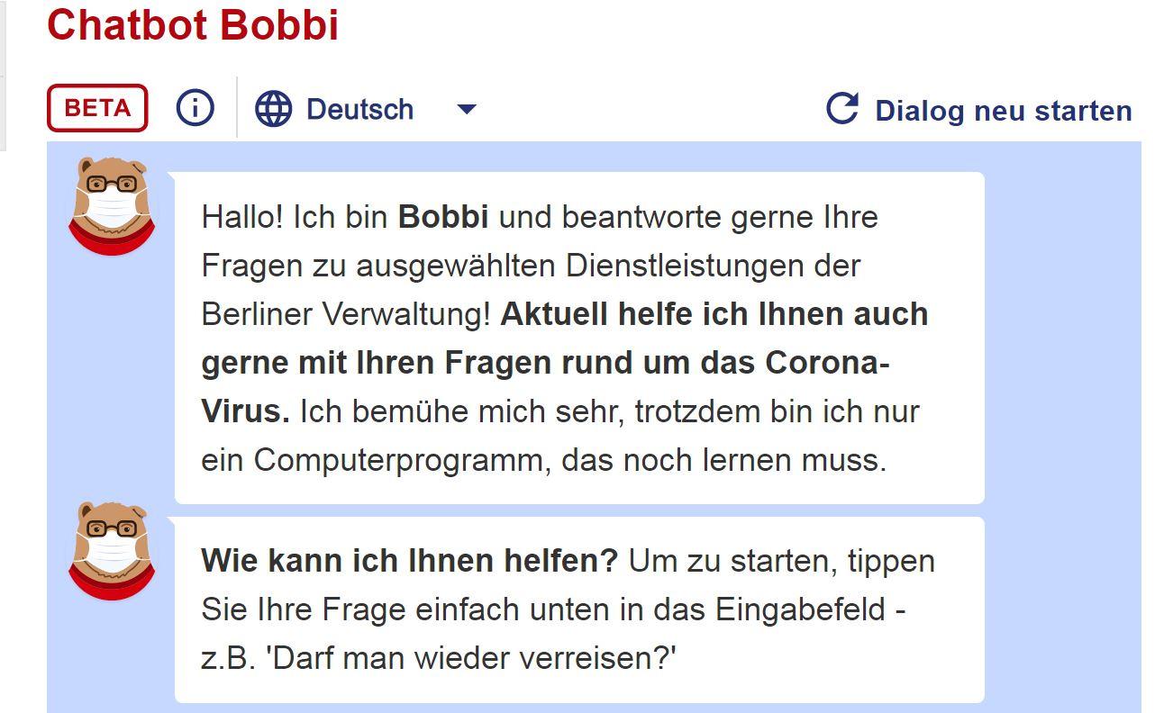 logo chatbot boobi. fragen zu Corona