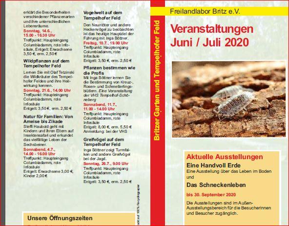 programm des freilandlabors juni-juli 2020